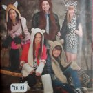 Simplicity 1795 Misses, Men's, Teens Animal Hats, Leg & Arm Warmers Pattern. One Size, UNCUT