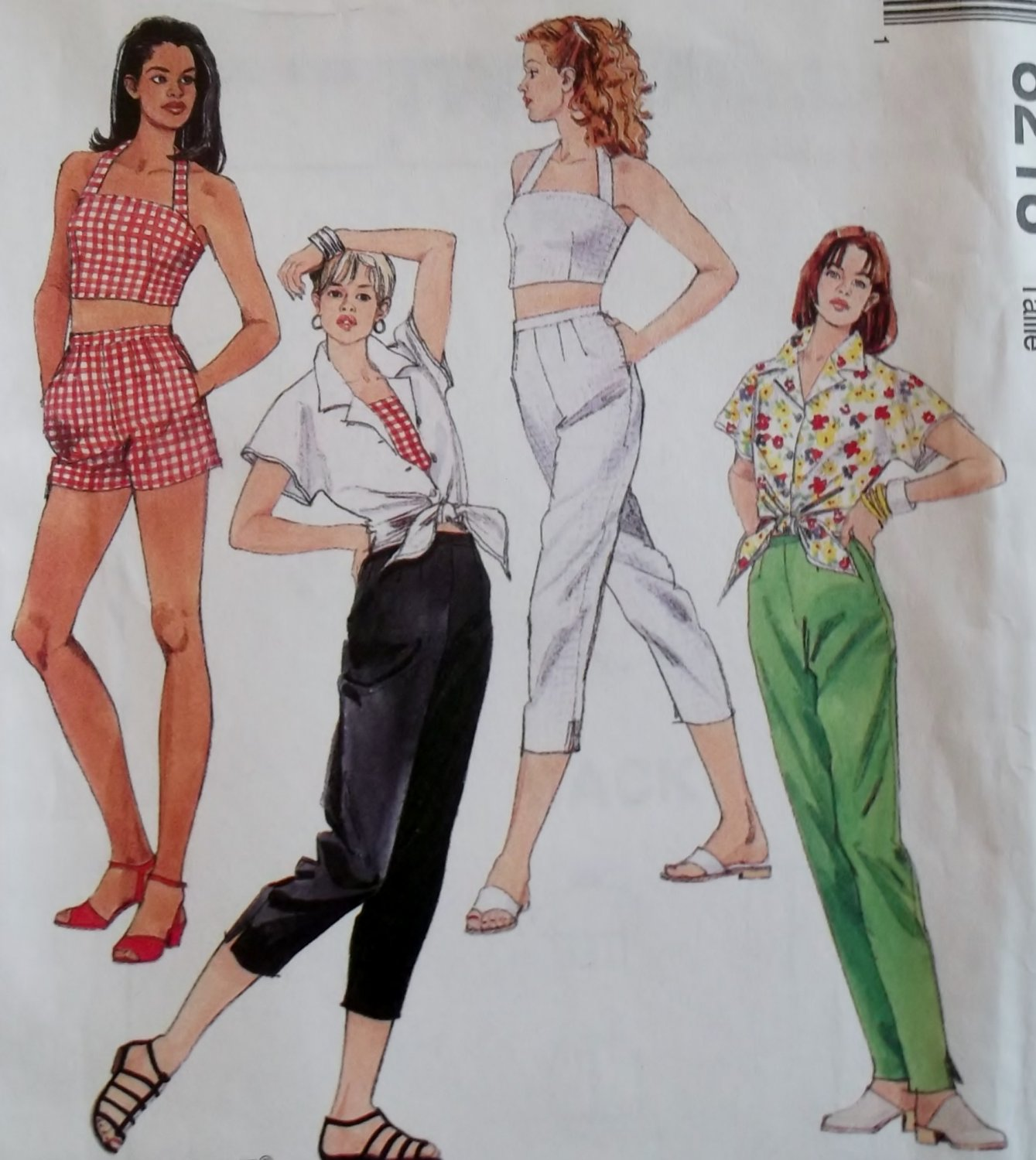 Easy Misses Top Shirt Pants Capris and Shorts McCalls 8218 Pattern, Size 12 14 16, Uncut