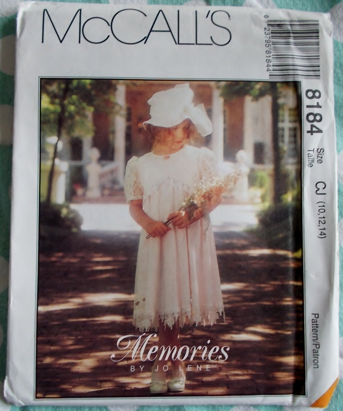 McCalls Memories by Jo Lene 8184 pattern, Childs Dress, Sizes 10, 12, 14, UNCUT