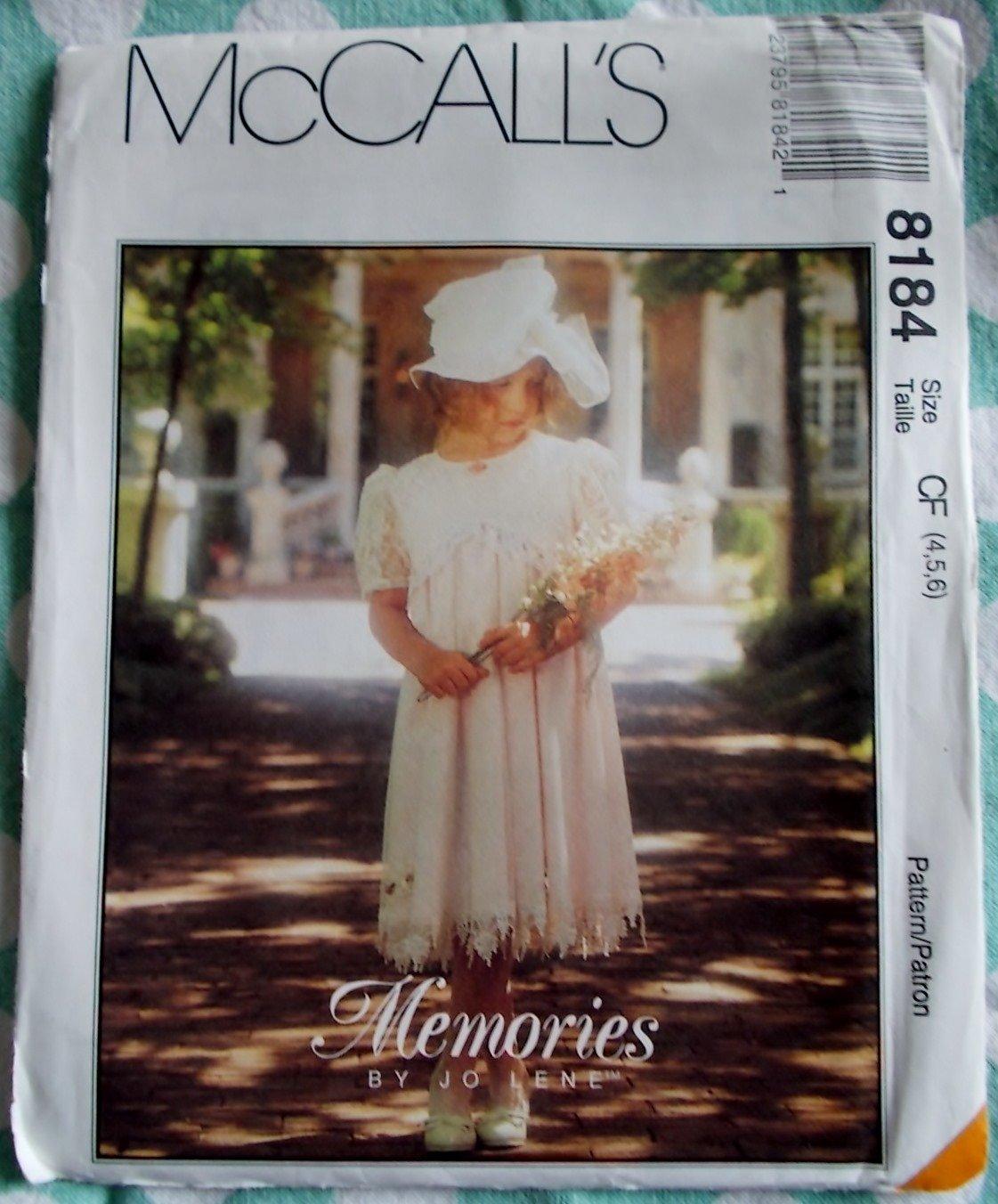 McCalls Memories by Jo Lene 8184 pattern, Childs Dress, Sizes 4, 5, 6, UNCUT