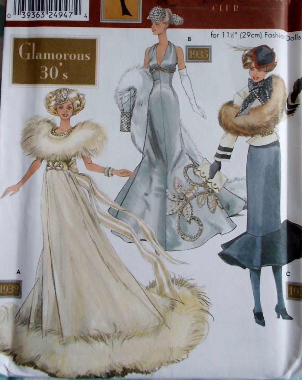 Doll Collector's Club Fashion Doll Glamorous 30's Clothes  Simplicity 9704 Pattern, Uncut