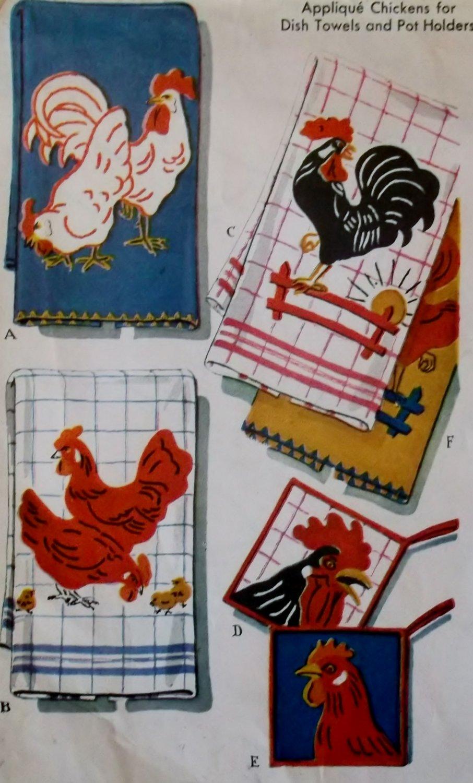 Vintage McCalls 1696 Applique Chickens Transfer Pattern, UNCUT