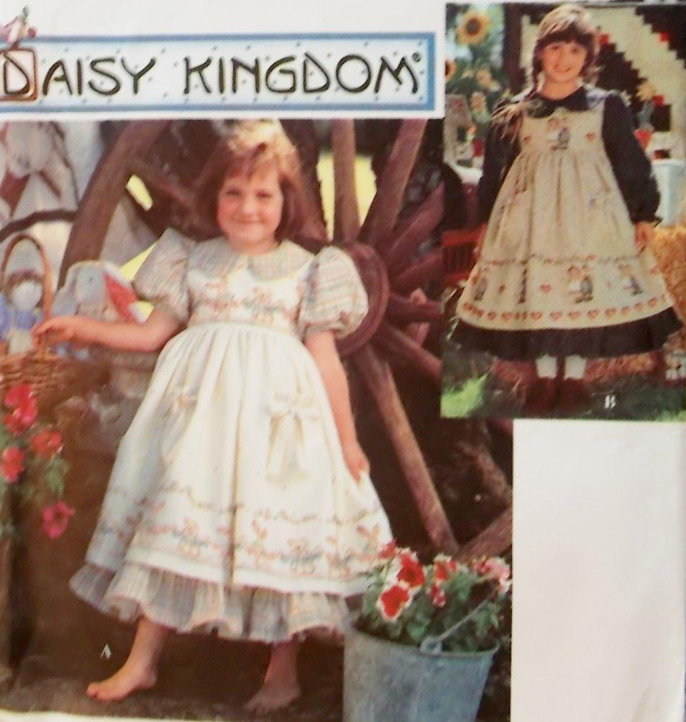 Simplicity 9977 Pattern,  Girls Daisy Kingdom Dress and Pinafore, Sz 5 6 7 8, Uncut