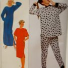Misses' Nightgown or Nightshirt & Pajamas Simplicity 9354 Pattern, Plus Size XL 22/24, Uncut