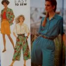 Easy Simplicity 7116 Misses' Culottes 2 lengths & Shirt Pattern, Plus Sizes 10, 12, 14, 16, 18 UNCUT