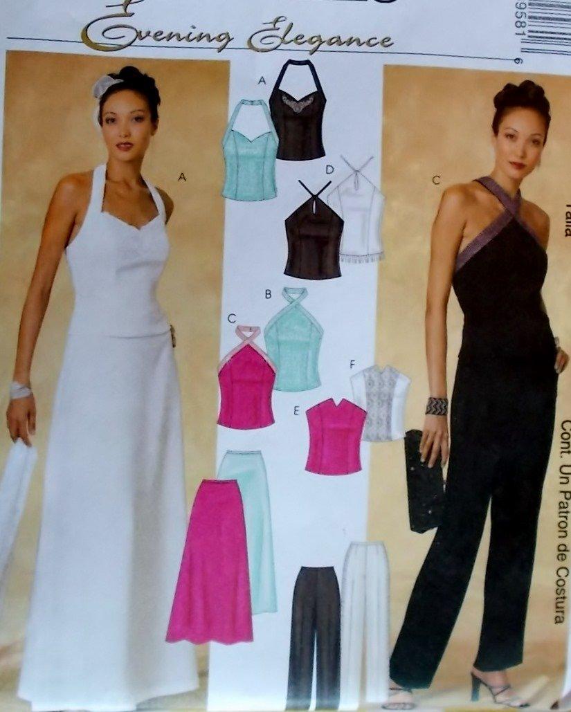 McCalls 3958  Evening Elegance Misses' lined Tops, Pants & Skirt Pattern, Size 4 6 8 10 UNCUT