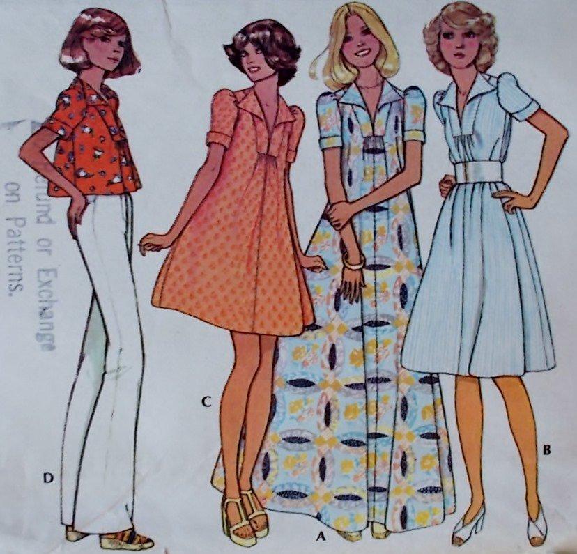Vintage Easy 70s Boho Dress or Top McCalls 4574 Pattern, Size 14, Bust 36, Uncut