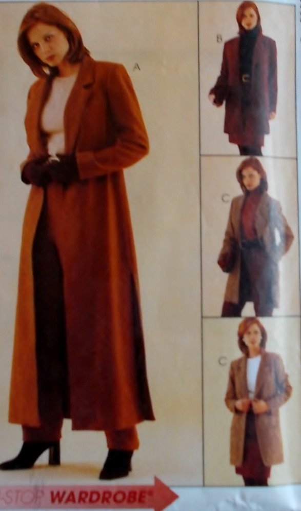 Easy McCalls 7301 Misses Duster or Jacket, Pants & Skirt Pattern, Sz 10, 12, 14, Uncut