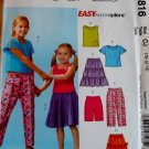 McCalls M 4816 Girls' Tops, Skirts, Shorts & Capri Pants Pattern, Sz 10, 12, 14, Uncut