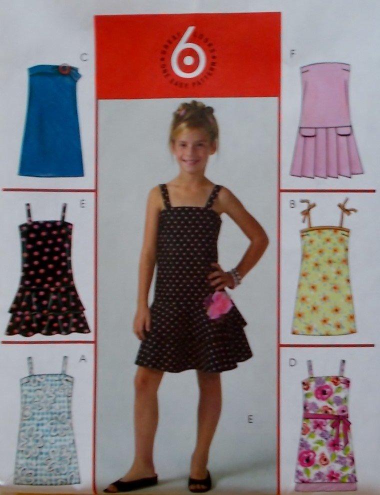 Girls' Dress in two Lengths McCalls M4767 Pattern, Size 12 14 16, Uncut
