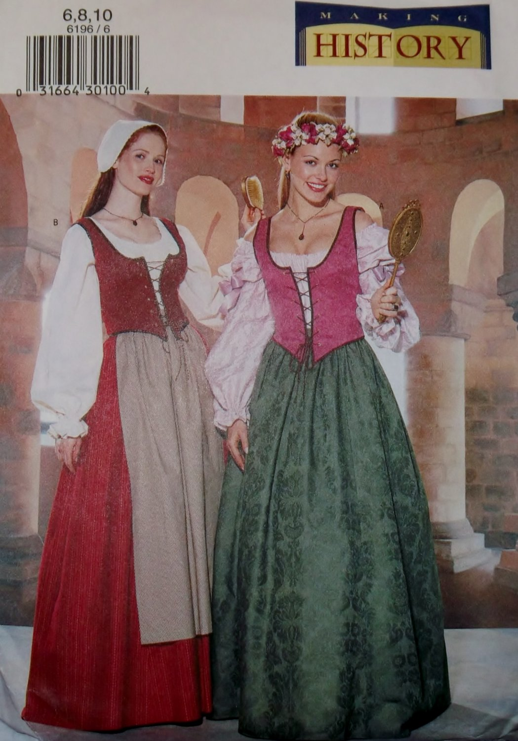 Misses'or Petite Historical Costume Butterick 6196 Pattern, Size 6 8 10, Uncut