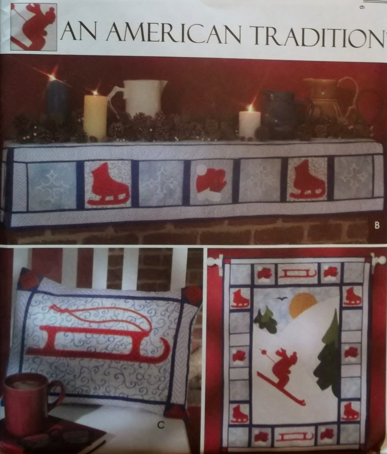 McCalls M4689 Winter Sports Quilt Mantel & Pillow Cover Pattern, Uncut