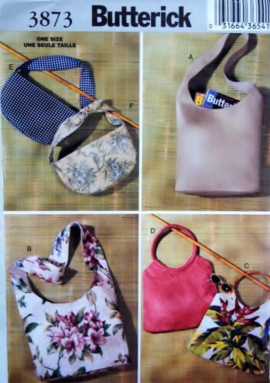 Butterick 3873 Fashion Bags Pattern, Uncut