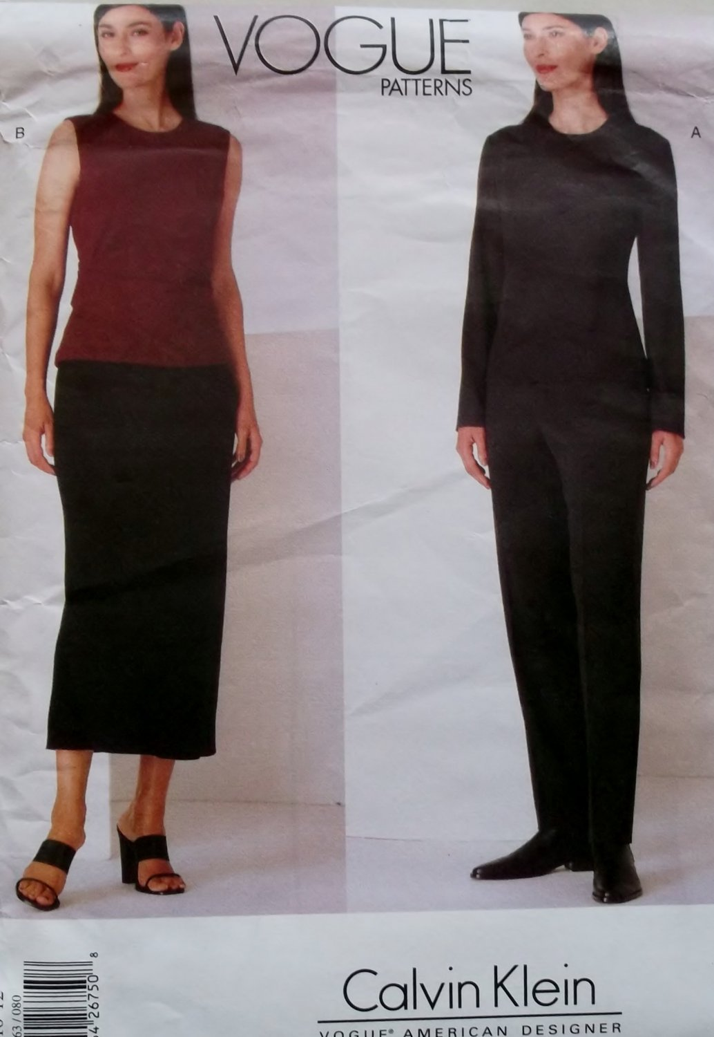 Misses' Calvin Klein Design Top, Skirt & Pants Vogue 2063  Pattern, Size 8 10 12, UNCUT