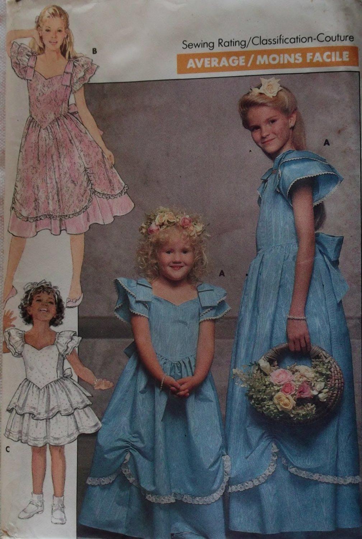 OOP Girls Dress Butterick 6028 Sewing Pattern , Size 12 14, UNCUT, FF