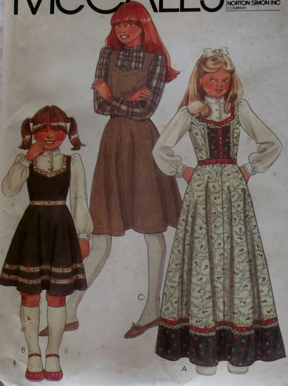 OOP Girls' Jumper And Blouse McCalls 7667 Vintage Pattern, Girls Size 12 Bust 30, UNCUT