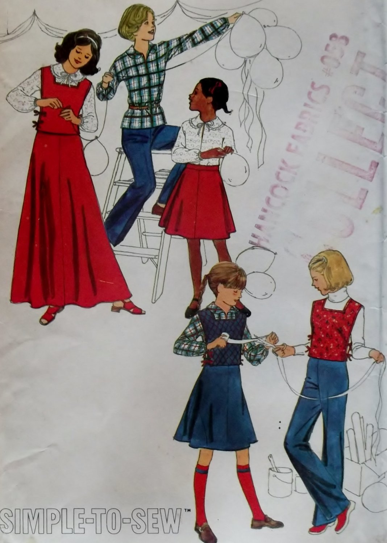 Girls' skirt  tabard, pants blouse Simplicity 8219 Vintage Pattern, Girls Size 12 Bust 30, UNCUT