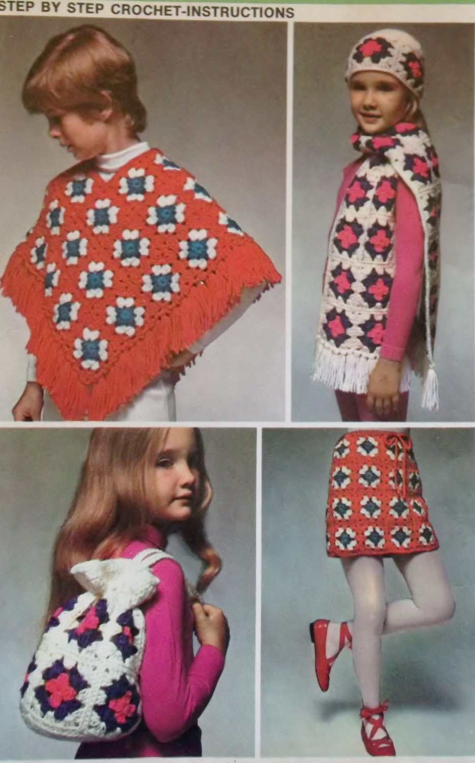 Vintage 70s Simplicity 9742 Crochet poncho, skirt, scarf, bag & hat Instructions