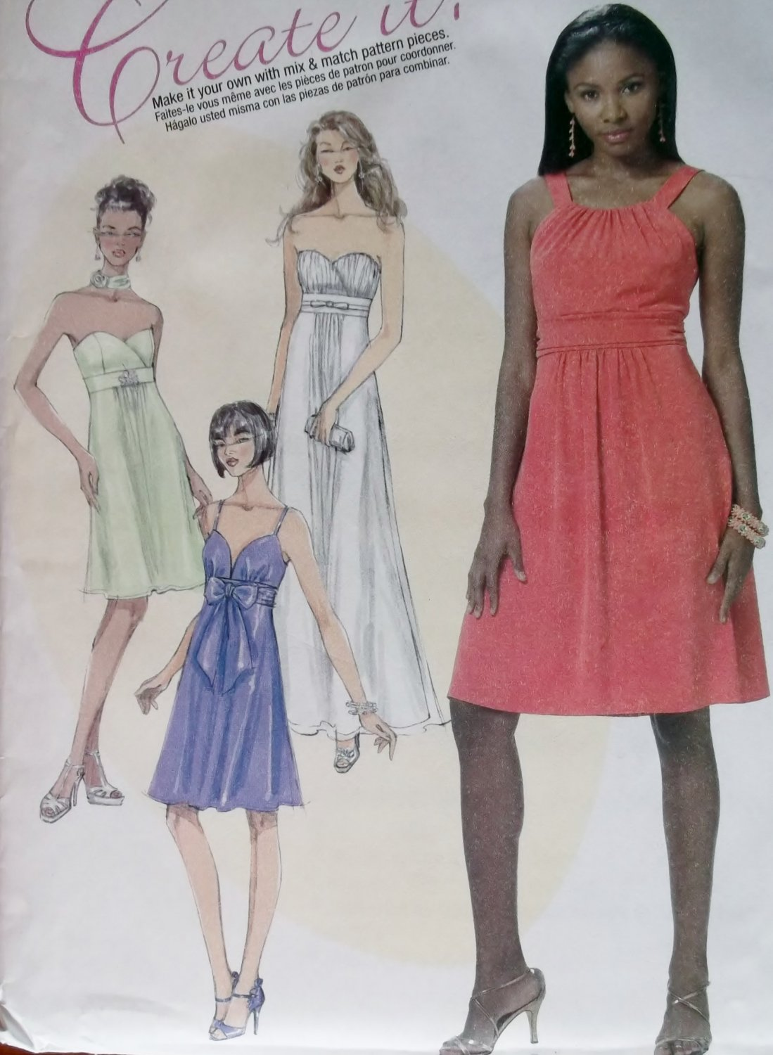 Misses' Lined Dresses In 2 Lengths & Necktie McCalls M 6029 Pattern, Size 4 To 12, Uncut