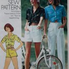 70s Misses' Shirt, Pants and Shorts Simplicity 9167 Pattern, Size 6, Bust 30 1/2, Uncut