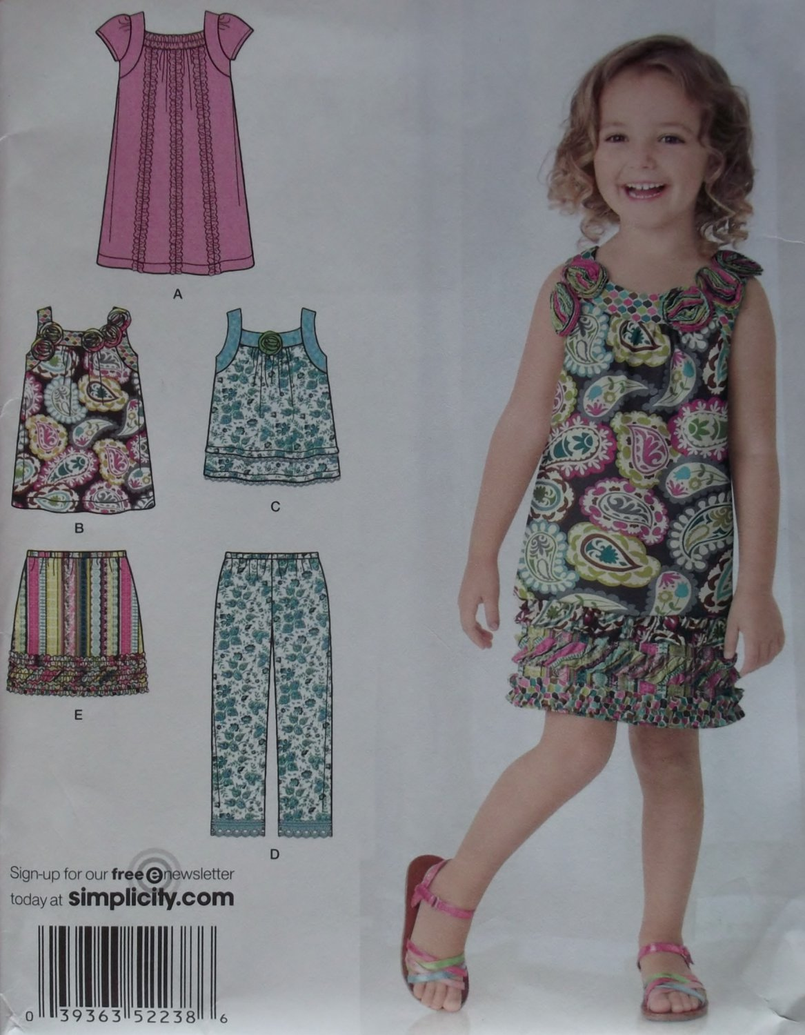 Girls Dress Top Skirt Cropped Pants Simplicity 2238 Pattern, Size 3 to 8, Uncut