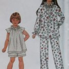 Easy Child's, Girls  Sleepwear Pajamas Simplicity 9400 Pattern, Size 3 to 12, Uncut
