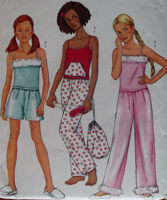 Butterick 6897 Girls Sleepwear Top, Shorts, Pants, Bag & Mask Pattern Sz 12 14 16 Uncut