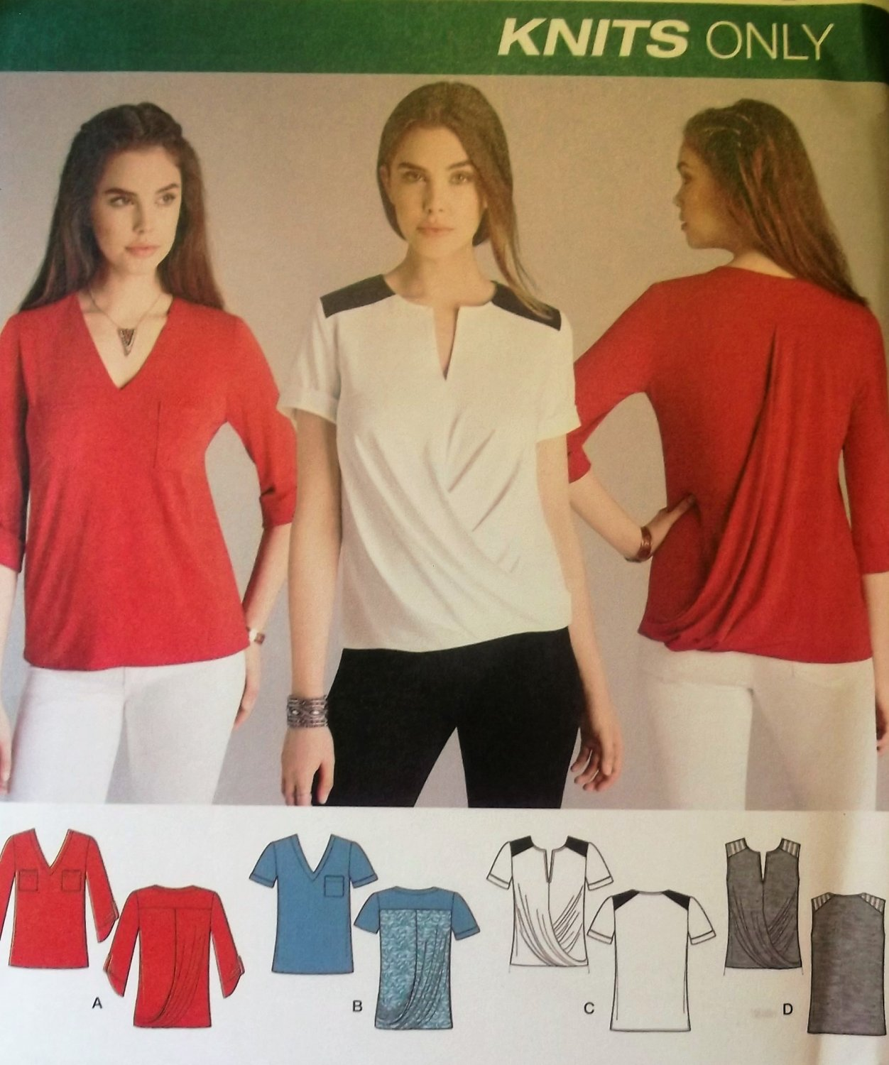 Misses' Knit Tops Simplicity 1063  Pattern, Size 6 to 14, UNCUT