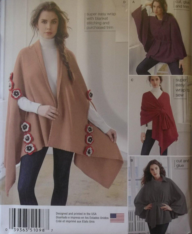 Easy Misses' Fleece Ponchos & Wraps Simplicity 1098 Pattern, One Size, UNCUT