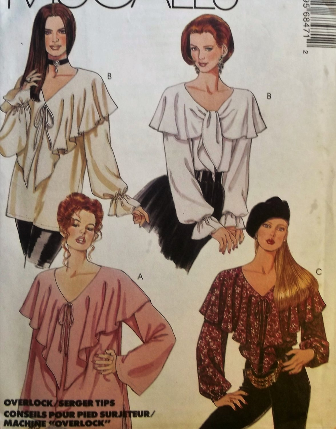OOP McCalls 6847 Pattern Misses' Romantic Tops, Size XS to MD, UNCUT