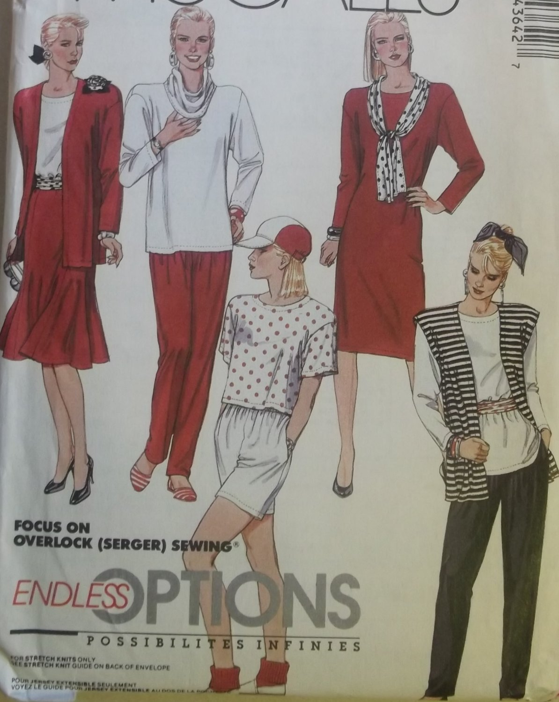 Misses' Jacket Vest Dress Tunic Skirt Shorts Pants Cowl, McCalls 4364 Pattern, Small 10 12, UNCUT