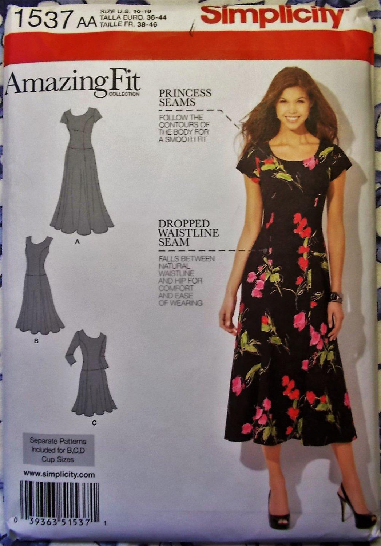 Amazing Fit Misses Dress Simplicity 1537 Pattern, Size 10 to 18, Uncut