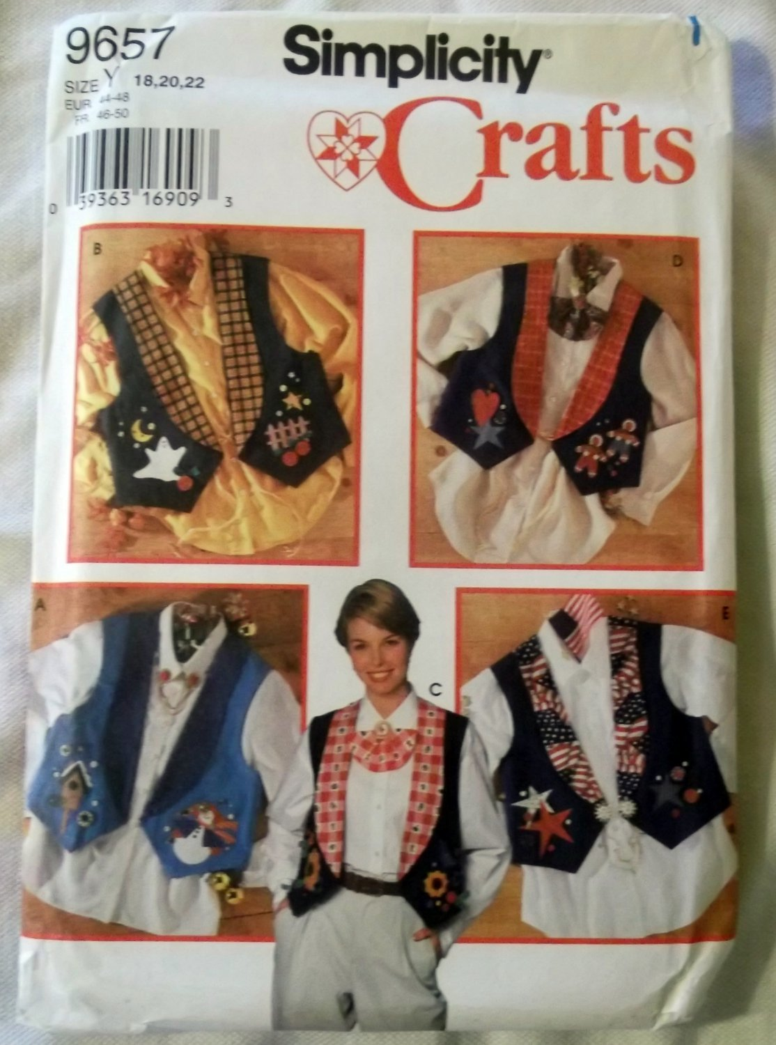 Misses Vest with Jewelry & transfers for Appliques Simplicity 9657 Pattern, Sz 18 to 22, Uncut