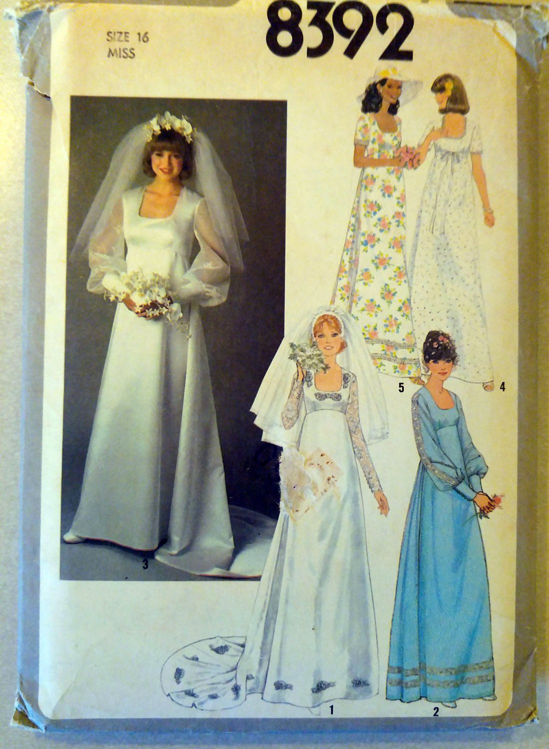 Vintage 70s Simplicity 8392 Pattern, Wedding or Bridesmaid Dress, Sz 16 Bust 38, Uncut