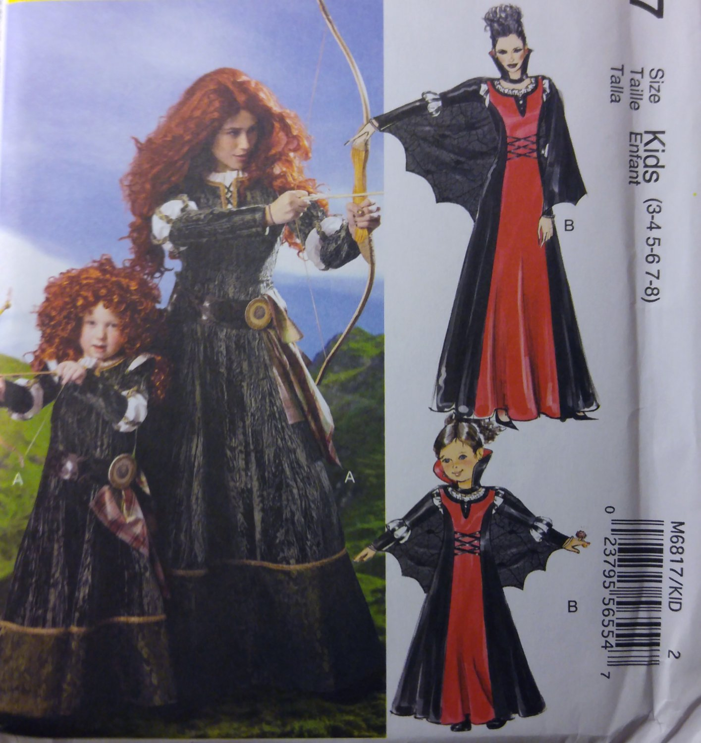 McCalls M6817 Kids Medieval Scottish Princess Costumes, Size 3 to 8, Uncut