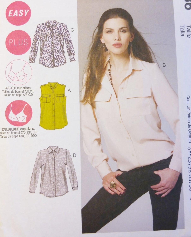 McCall's M6436 Misses'/Women's Button-Down Shirts  Pattern, Size 8 - 16, Uncut