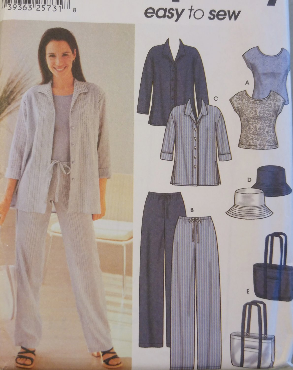 Misses Misses Pants, Shirt, Top, Hat & Bag Simplicity 7182 Pattern, Size 8 to 14, Uncut