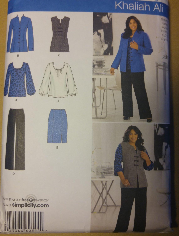 Women's Pants Skirt Jacket or Vest Knit Top Simplicity 2344 Pattern, Plus Size 20W to 28W, Uncut