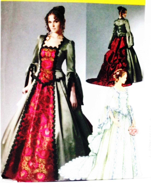 Historical Top, Skirt  Detachable Train Bustle  Costume McCalls M6097 Pattern Sz 14 to 20 Uncut