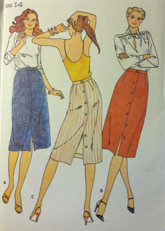 Vintage Butterick 6548 Misses Front Button Skirt  Pattern, Size 14, UNCUT