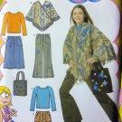 Girls Skirt Pants Poncho Knit Top Tote Bag Simplicity 4897 Pattern Sz 8 -14 UnCut