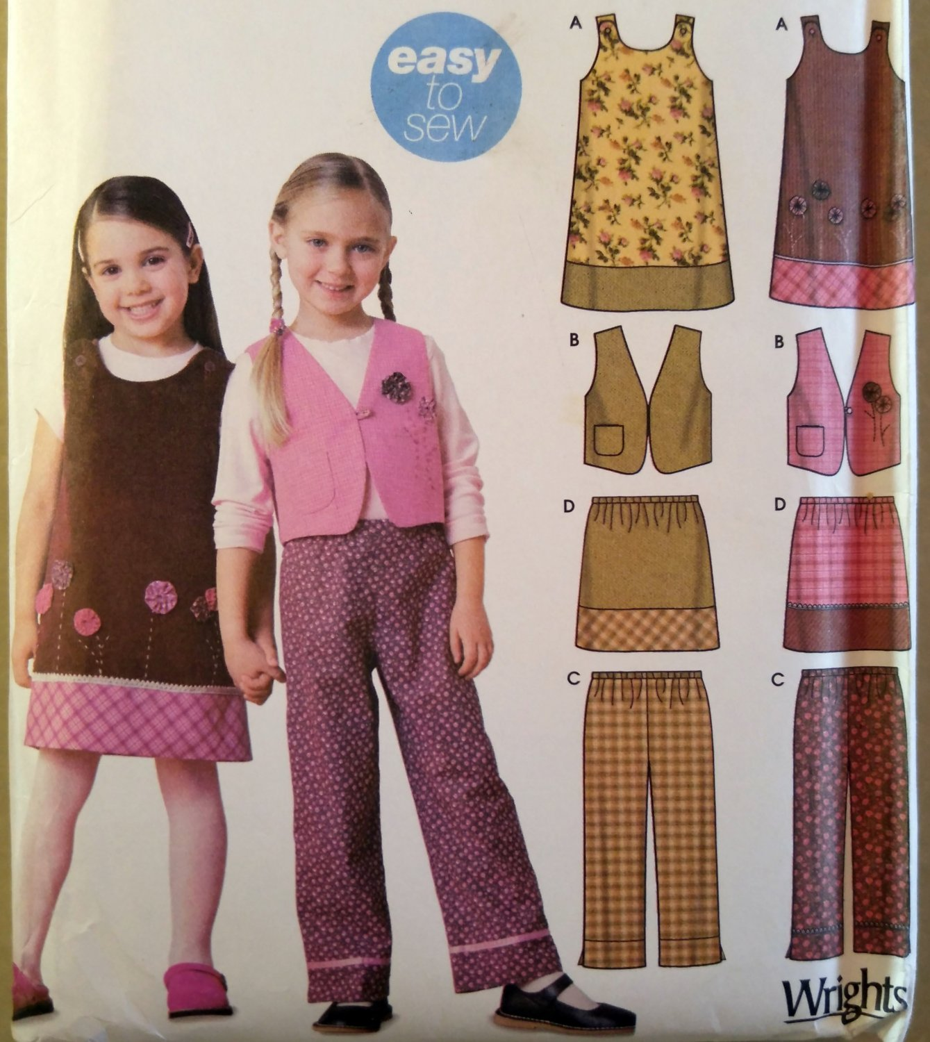 Girls Jumper Vest Pants Skirt  Simplicity 5489 Pattern, Size 3 to 8, Uncut