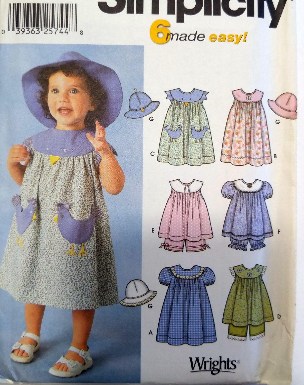 Easy Toddlers Dress op Panties Hat  Simplicity 7189 Pattern Sz-1/2-1-2-4 uncut