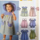 Easy Toddlers Dress op Panties Hat  Simplicity 7189 Pattern Sz-1/2-1-2-4 uncut