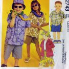 Easy Childs  Shirt, Shorts in 2 Lengths & Hat, Simplicity 2743 Pattern, Size 2 3 4, UNCUT