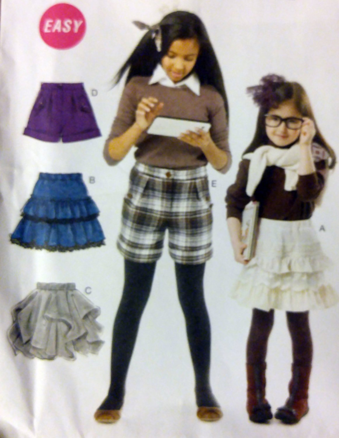 Easy McCalls  M6391 Girls' Skirts & Shorts Pattern, Sizes 7 to 14, UNCUT