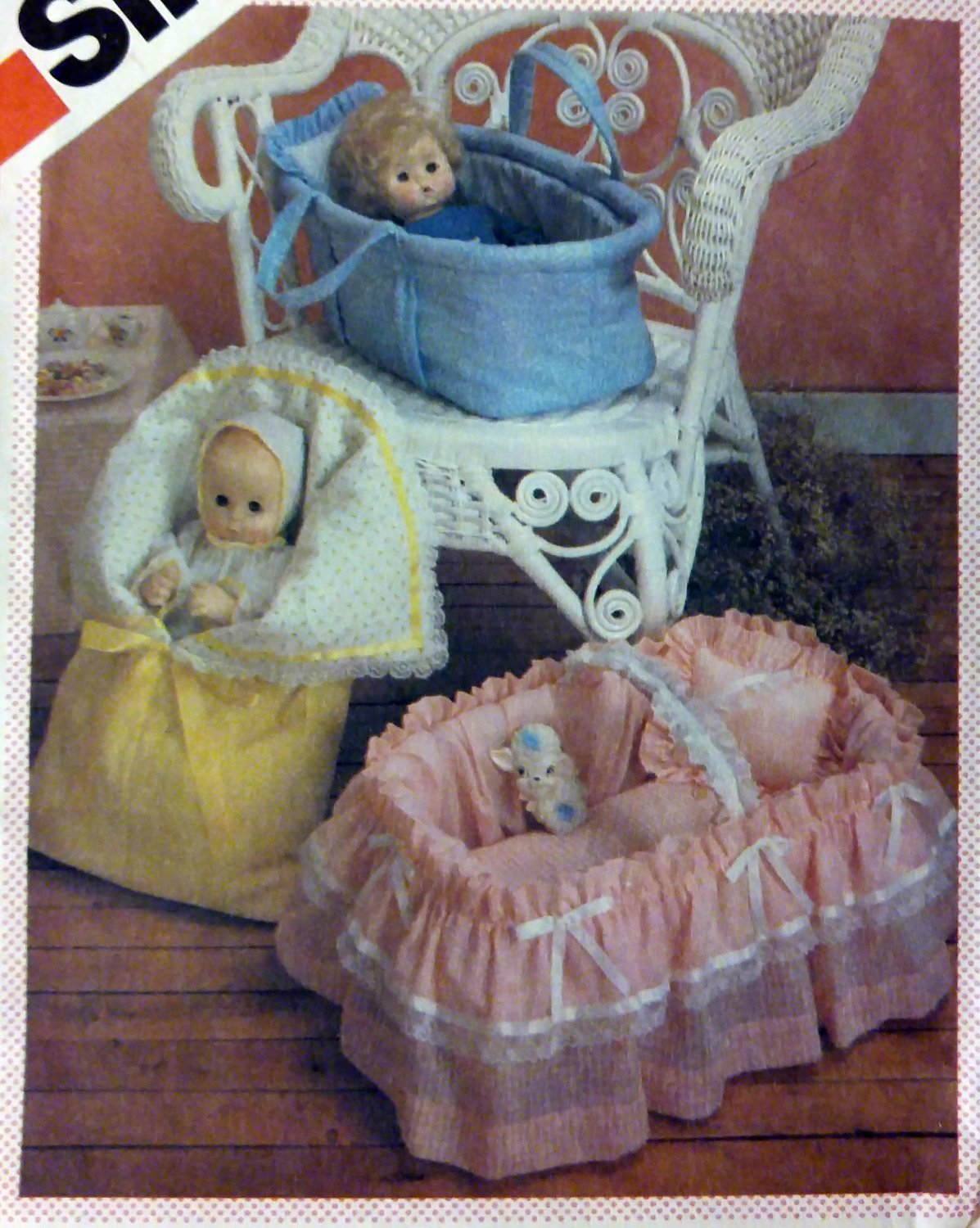 Vintage Doll Carriers Covered Basket Bunting Simplicity 6056 Pattern, Uncut
