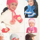 McCalls M5772 Childs Hats, Scarves, and Mittens Pattern, one size, UNCUT