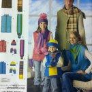Family Winter Vest Hats Scarves & Mittens Simplicity 2743 Patterns, UNCUT