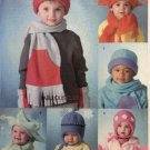 Infant Toddler Hats Scarfs Mittens McCall's M4682 Pattern, Size XS to Large, Uncut